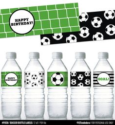 Soccer printable water bottle labels, for soccer birthday parties - Printable PDF file. Soccer Birthday Parties, Football Birthday, Soccer Party, Sports Party, Birthday Party Tables, Happy Birthday, Birthday Kids, Football Soccer, Party Labels