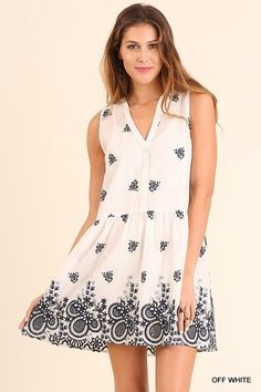 bf4ac29a2c1b2c Details about Umgee Sleeveless Floral Embroidery casual boho day dress tunic  S M L