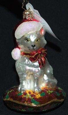 """RADKO """"Kringle Kitty""""  Christmas tree ornament"""