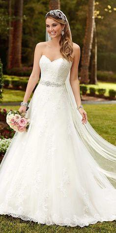 lace sweetheart neckline aline wedding dresses chapel train