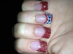 My nails: glitter acrylics with rebel flag & rhinestones