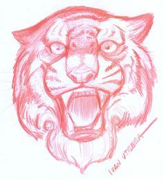 tigre en lapiz de color