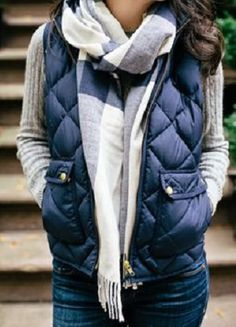 cozy blue vest with sweater and scarf