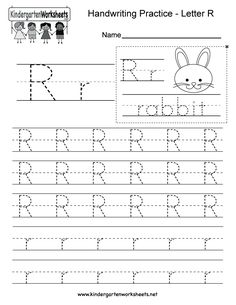 Letter R writing worksheet for kindergarten kids. This series of handwriting alphabet worksheets can also be cut out to make an original alphabet card or booklet. You can download, print, or use it online.
