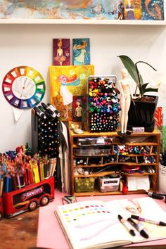 This woman's work is pretty awesome. She also has an art supply business (online)! I really like the idea of buying supplies from a working artist. Home Art Studios, Art Studio At Home, Studio Desk, Rangement Art, Art Studio Design, Art Studio Organization, Art Desk, Dream Art, Space Crafts