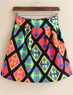 Multicolor High Waist Geometric Print Skirt