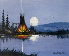 Autumn Moon by Michael Hill kp Native American Paintings, Native American Wisdom, Native American Pictures, Native American Artists, Native American History, Native American Indians, Canvas Photo Transfer, Native Art, Native Indian