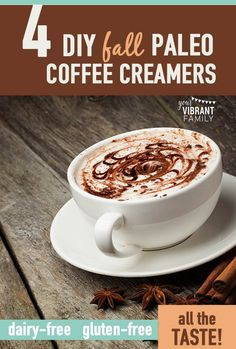 Since my family went Paleo (and therefore, dairy and sugar are a no-no), I've had to create a few homemade healthy coffee creamer recipes for when my coffee craving hits. Here are four awesome versions of DIY non dairy flavored coffee creamers! All the richness is still there... without the guilt! You've got to give them a try!