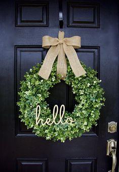 Boxwood Wreath, Greenery Wreath, Hello Wreath, Everyday Wreath, Year Round Wreath, Farmhouse Decor, Boxwood Door Wreath, Hello Wreath