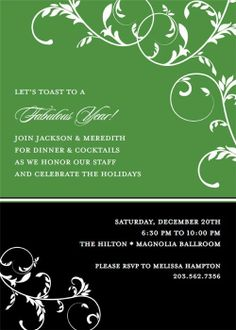 Floral Vine on Green and Black #christmas #aroundtheworld #party #invitation