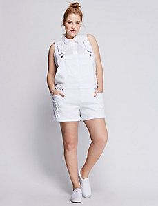 White denim and short overalls? Just pick your tee or tank. White Overalls Shorts, Denim Romper, Short Overalls, Bib Overalls, Trendy Plus Size Clothing, Plus Size Outfits, Plus Size Fashion, Plus Size Romper, White Romper