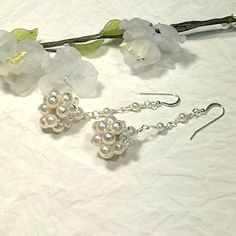 Excited to share the latest addition to my #etsy shop: Long pearl drop earrings, dangle earrings, bridal earrings, birthday gift her, wife bead jewelry, wedding jewelry, statement earrings
