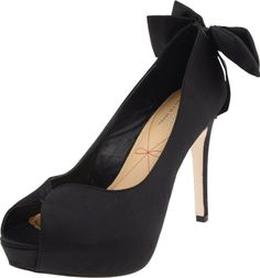 Elegance and sophistication will be yours when you slip on these gorgeous pumps from Le Soir by Pour La Victoire.  Cristella 2 features a black satin upper with a feminine bow at the back of the heel. This pretty peep toe has a 1 inch platform and 4 inch heel to create the perfect look for your next fancy occasion. http://www.amazon.com/dp/B004P28WMC/?tag=icypnt-20