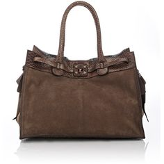 Zagliani Python-Trimmed Gatsby Large Tote ($5,050) ❤ liked on Polyvore featuring bags, handbags, tote bags, brown, python handbag, python tote, brown handbags, snakeskin handbags and brown tote handbags