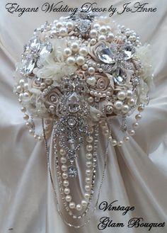UNIQUE BOUQUET DEPOSIT Ivory Champagne by Elegantweddingdecor