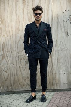 Black Textured double breasted suit. Men's Spring Summer fashion.