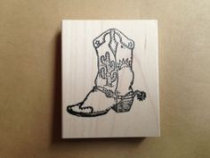 Mounted Rubber Stamp, Southwestern Cowboy Boot, Western Stamps, Boots, Scenic