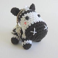 Zèbre porte clés en noir blanc en coton crochet