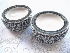 2 White Leopard Print Polymer Clay T-light Holders £6.00
