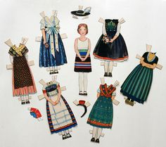 Vintage German Paper Cut Out Doll 1920's 1930's International Costumes Items | eBay