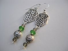 Lovely OWL Earrings Silver Tone with Green Apple Swarovski Crystals  by Ferry Creek Vintage on Etsy, New with Vintage Charm $24.75