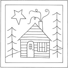I like the look of this one, too, for 'my house'. copyrighted punch needle pattern
