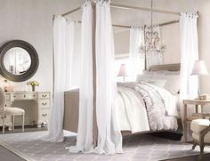 Bedroom decor, Four post bed, canopy, chandelier