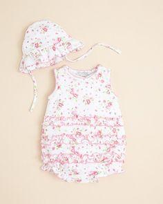 Kissy Kissy Infant Girls' June Blooms Bubble Sunsuit & Hat - Sizes 0-9 Months  PRICE: $48.00