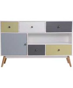 Hygena Retro 1 Door 5 Drawer Sideboard - Multicoloured.