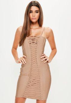 5594d9b845 Missguided Bandage Strap Detail Bodycon Dress Size 6 Uk BNWT RRP 53.99  Camel  fashion