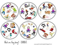 dobble, actions, grammar, verbs, vocabulary, game, spy, Present Continuous, Present Simple