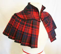 Tartan Capelet from a Flannel Shirt. Not sure about the tartan in this form but the capelet is super cute Mode Outfits, Fashion Outfits, Womens Fashion, Fashion Fashion, Fashion Cape, Korean Fashion, Winter Fashion, Recycled Fashion, Recycled Clothing