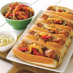 Superbowl Recipes: Grilled Sausages with Mixed Pepper Compote