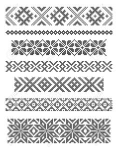 Stock Vector Set Of Borders, Embroidery Cross, Vector Royalty Free Cliparts, Vectors, And Stock Illustration. Cross Stitch Borders, Cross Stitch Samplers, Cross Stitch Charts, Cross Stitch Designs, Cross Stitching, Cross Stitch Patterns, Diy Embroidery Shirt, Border Embroidery, Cross Stitch Embroidery