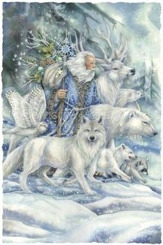 May The Cool Winds Of Winter – Art Card Greeting Card – Winterbilder Father Christmas, Blue Christmas, Christmas Pictures, Vintage Christmas, Christmas Crafts, Winter Christmas, Christmas Greetings, Handmade Christmas, Christmas Trees