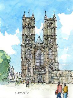 L'abbaye de Westminster art de Londres 2e impression par Andre Voyy