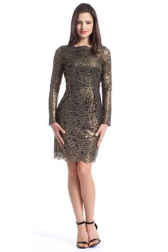 Shoshanna Metallic Guipure Lace Minka Dress