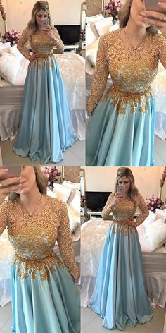 Long Sleeves Prom Dresses,Cheap Prom Dress,Long Prom Dresses,Beading Prom Dress,A Line Evening Dress,Light Blue Prom Dresses #lightblue #beading #lace #longsleeves #aline #satin #okdresses