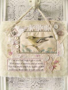 Vintage Fabric Bird Collage~