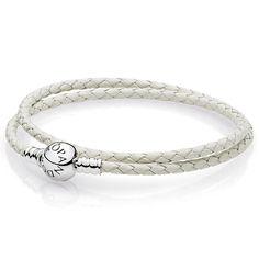 $30  PANDORA Ivory White Braided Double-Leather Bracelet