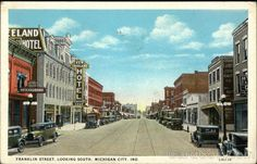 White Border Postcard Franklin Street, Looking South Michigan City, IN Michigan City Indiana, Indiana Dunes, Lake Michigan, Franklin Indiana, Old Building, State Parks, Street View, Cities, Vintage Prints