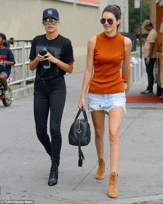 Having a model moment: Kendall Jenner and Hailey Baldwin were spotted for another social outing in New York City on Monday, the day after the Kardashian clan made a spectacle of themselves at the VMAs