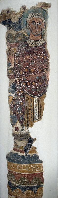 12th-cent.Romanesque Frescos of Santa Maria de Taüll.Unknown Romanesque Painter,Catalan (active 1100-1150 in Catalonia) Saint Clement from Santa Maria de Taüll.circa 1123.mural.Fresco transferred to canvas.3150x1000 mm. Museu Nacional d'Art de Catalunya.