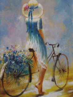 Girl with Blue Flowers bicycle art / artist ? Bicycle Painting, Bicycle Art, Art And Illustration, Beautiful Paintings, Painting Inspiration, Bathroom Inspiration, Female Art, Painting & Drawing, Amazing Art