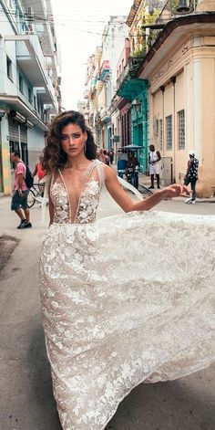 10 Best Wedding Dress Designers For 2017 ❤ wedding dress designers lace floral deep plunging v neckline sleeveless julie vino ❤ See more: http://www.weddingforward.com/wedding-dress-designers/ #wedding #bride