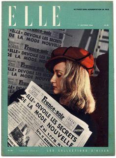 Vintage French Elle - N°46 du 1 Octobre 1946 Collections Schiaparelli Balenciaga Jacques Fath Pierre Balmain René Gruau