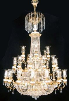 "Swarovski Crystal Trimmed Chandelier! French Empire Crystal Chandelier Lighting Gold W56"" X H76"" - A81-519/56SW"