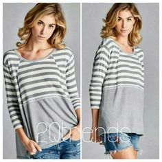 Knit top. Large Grey stripes loose knit top. Grey stripes loose knit top. Soft and flowy, loose knit top. Easy to pair with jeans, short, all year round.  As in pictures.  Thanks for looking. Tops
