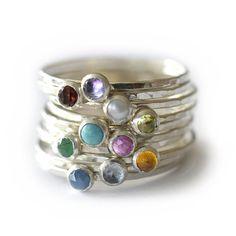 Silver Birthstone Stacking Ring, Gemstone Ring, Mothers Ring