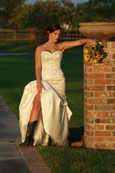 Love the wedding dress with the cowboy boots!!!